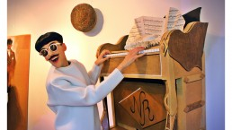 The Piano Body by Nuno Roque - Vernissage Exhibition Exposition - Wearable - Sculpture - My Cake - Fashion Paris Moustache Mustache - Music - sunglasses - museum - contemporary art - cardboard - carton - trompe l'oeil