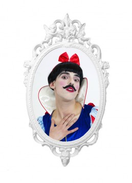 The-Prince-Looking-In-The-Mirror-by-Nuno-Roque-Contemporary-Art-Mustache-Photography-Identity-Snow-White-Male-Disney-gilded-wood-artwork-oeuvre