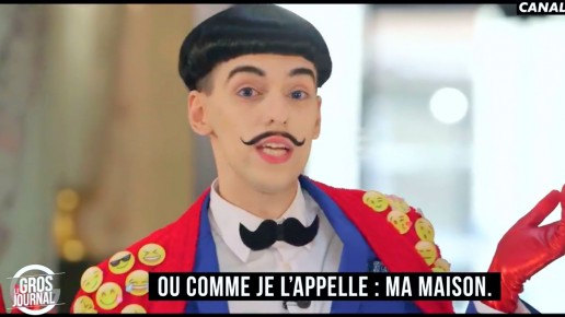 Nuno Roque on Canal+ - Le Gros Journal - talk show host - moustache bow tie