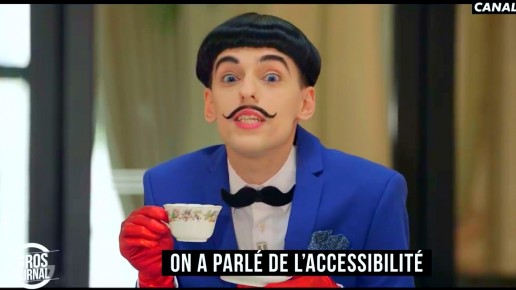 Nuno Roque on Canal+ TV hosting Le Gros Journal - having tea - moustache bow tie