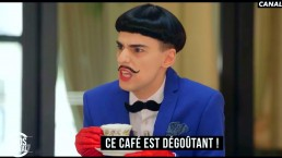Nuno Roque on Canal+ TV hosting Le Gros Journal - having coffee in Paris - moustache bow tie