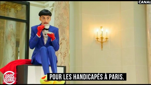 Nuno Roque on Canal+ TV hosting Le Gros Journal at the Peninsula Hotel in Paris - tea and emoji slippers