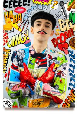 Comics Overdose (Duck) by Nuno Roque - La Mafia Dell'Arte - Moustache Bow Tie Black - Pop Music - Photography - Contemporary Art - Collage - Cartoons Photography Artwork