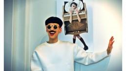 Nuno Roque photo call - the piano body - sculpture - press Vernissage Exhibition Exposition - My Cake - Fashion Paris Moustache Mustache - Music - sunglasses - museum - contemporary art - art contemporain