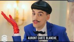 Nuno Roque Canal+ TV hosting Le Gros Journal talk show - moustache bow tie